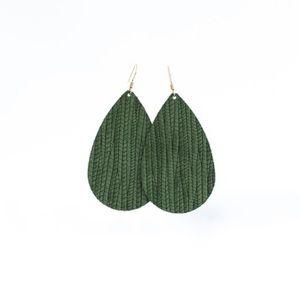 Olive grove nickel and suede earrings
